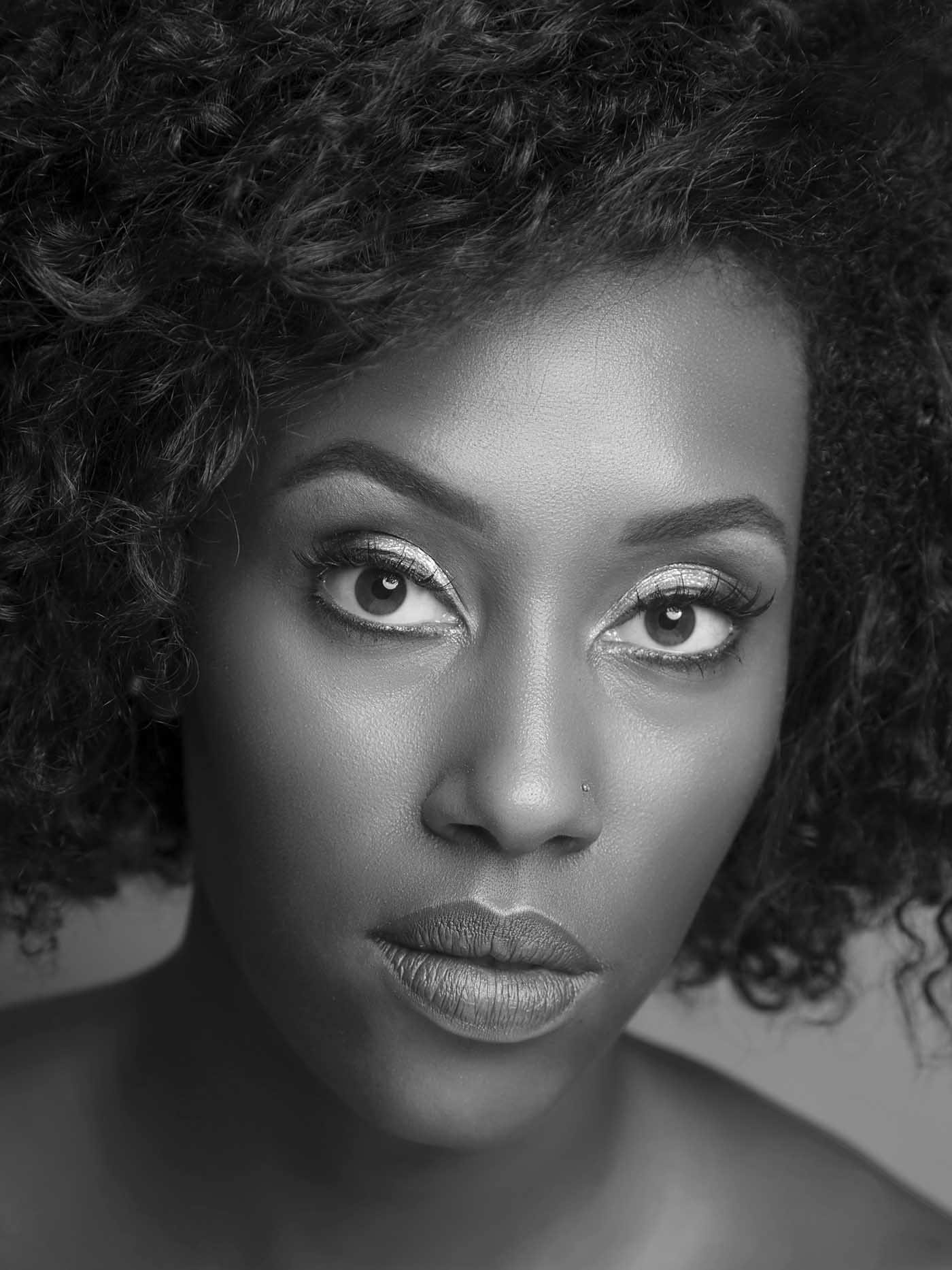 African american woman black and white photo retouching